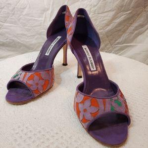 Manolo Blahnik purple w/multi color heels sz38